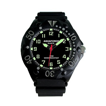 Tactical Analog Watch, Black Face, Fiber Case, Black Rubber Band
