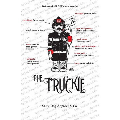 Gettin Salty Truckie Firefighter Print 11.5