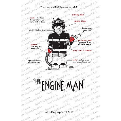 Gettin Salty Engineman Fire Print 11.5