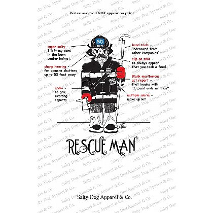 Gettin Salty Rescue Man Fire Print 11.5