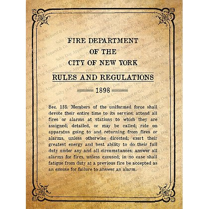 Gettin Salty 1898 NYC Regulations Print 11.5