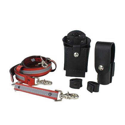 Boston Leather TheFireStore Exclusive Grand Slam Red Leather Reflective Radio Strap Combo Kit