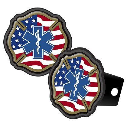 Maltese Cross American Flag w/ Blue Star Of Life & Reflective Cover