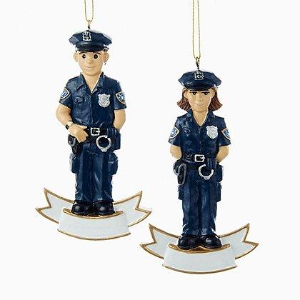 Kurt S. Adler Male & Female Police Officers in Uniform