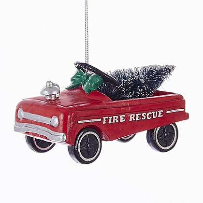 Fire Rescue Car with Christmas Tree Ornament