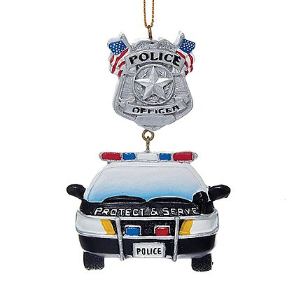 Police Car & Badge Serve and Protect Ornament