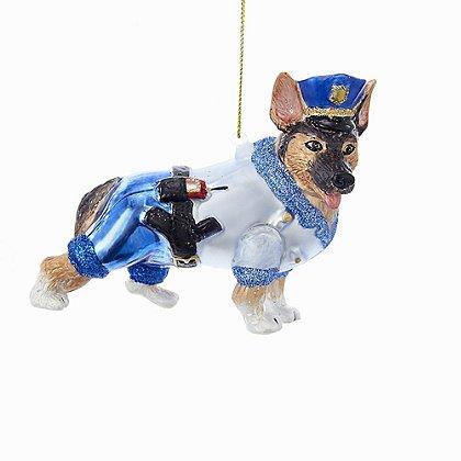 Glass Police Dog Ornament