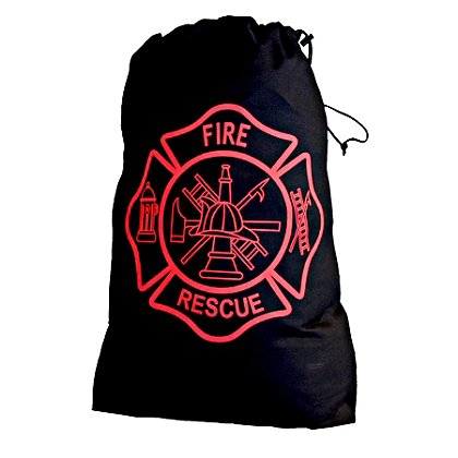 Exclusive Black Laundry Bag with Red Firefighter Maltese Cross