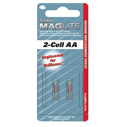 Maglite Mini Maglite AA Flashlight Replacement Xenon Lamps, 2-Pack