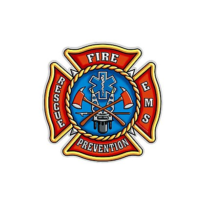 Maltese Cross Reflective Decal Fire-Prevention-Rescue-EMS
