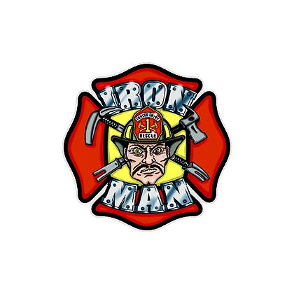 Maltese Cross Iron Man Reflective Decal, 3-5/8