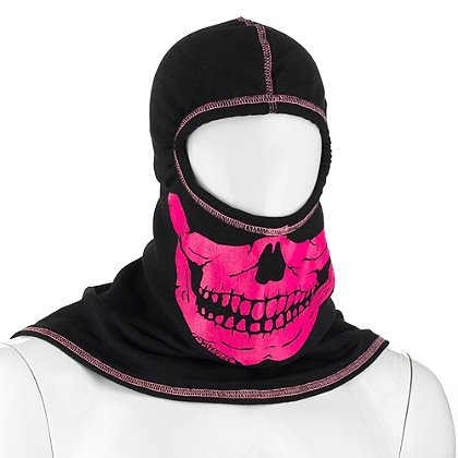 Majestic PAC F20 Black Ultra C6 Hood with Pink Fire Ink Skull