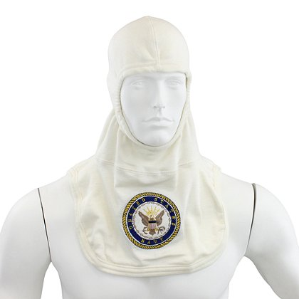 Majestic PAC II 100% Nomex White Navy Embroidered Hood, NFPA 1971-2013