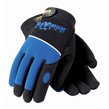 PIP Maximum Safety Professional Mechanics Glove, Black & Blue with Logo