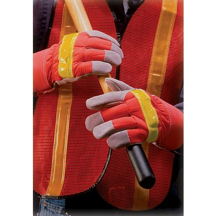 PIP Hi-Vis Leather Gloves, Unlined Split Cowhide Leather Palm, Rubberized Safety Cuff, Box of 12
