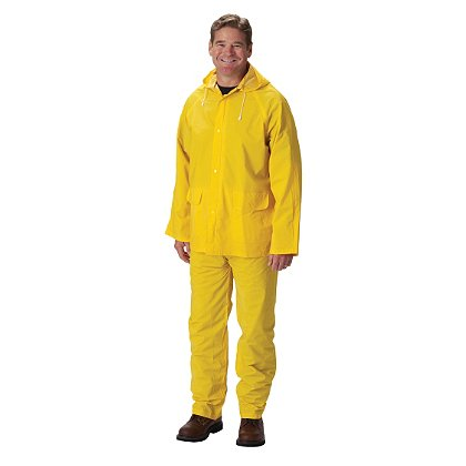 PIP 3-Piece Rainsuit, PVC/Poly, .35mm Thick Jacket w/ Detachable Hood, Corduroy Collar, Bib Overall, Yellow