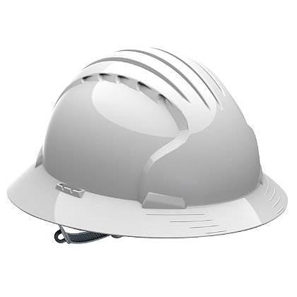 PIP Evolution Deluxe 6141 Full Brim Hard Hat, 6-Point Poly Textile Suspension, Slip Ratchet Adjustment, Non-Vented, ANSI
