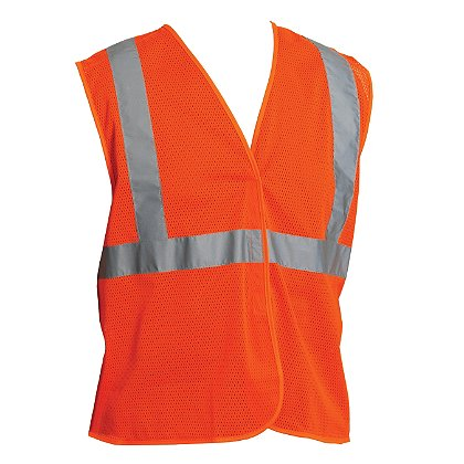 PIP ANSI Class 2, Economy Mesh Vest, Hook & Loop Closure, No Pocket, Matching Trim