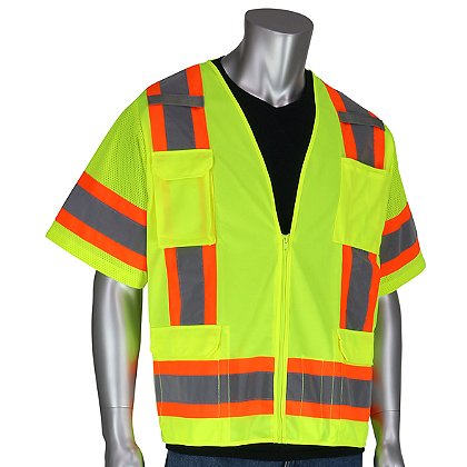 PIP ANSI Class 3, Surveyors Vest with Zipper Closure, 6 Pockets, Solid Front, Mesh Back, Two-Tone Tape, Mic Tabs