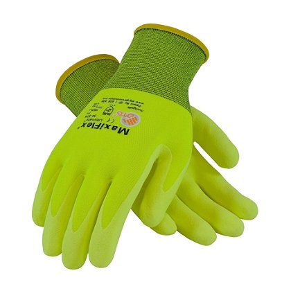 PIP G-Tek Maxiflex Ultimate Glove, Fluorescent Yellow Micro-Foam Nitrile, Yellow Seamless Knit Nylon Liner, Box of 12