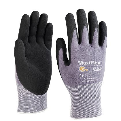 PIP G-Tek Maxiflex Ultimate Glove, Micro-Foam Nitrile, Gray Seamless Knit Nylon Liner, Box of 12