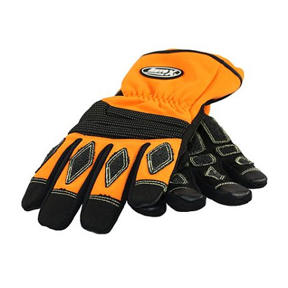 PIP Extrication Glove, Orange, Kevlar Stitching Melt Resistant Fingertips, Black Padding