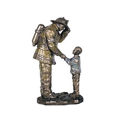 Child Thanking Firefighter Statue