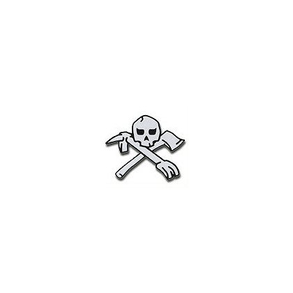 3Decals Skull & Tools Reflective Decal.   White on Charcoal