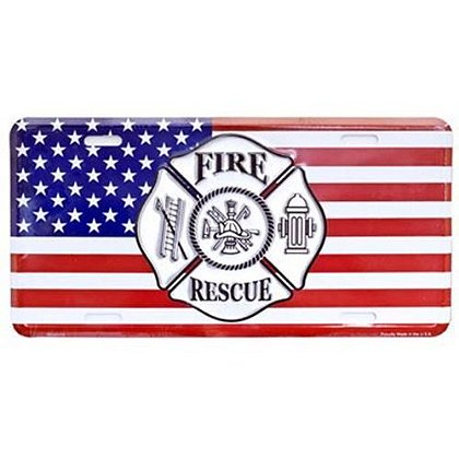 U.S. Flag Fire Rescue Maltese Cross License Plate
