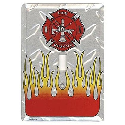 Fire & Rescue Maltese Cross Flame Light Switch Plate Cover