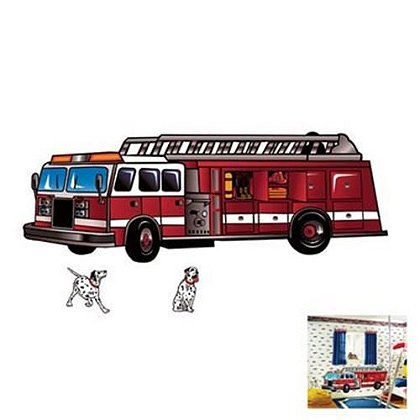 Prepasted 8 Foot Fire Truck & Dalmatians Applique Wall Decoration