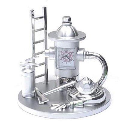 Fire Gear Silver Desk Clock