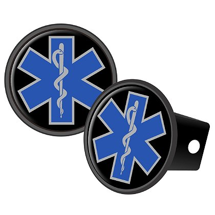 Round Blue Star Of Life, Reflective Dome Hitch Cover