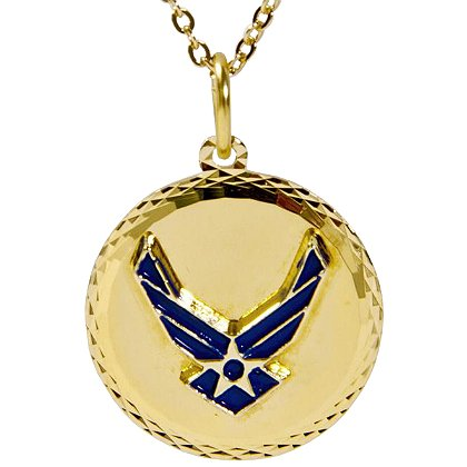 Son Sales Air Force Classic Pendant, 22K Gold Plated Diamond Cut Edging, 18