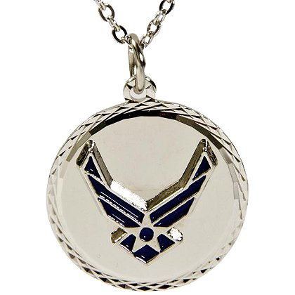 Son Sales Air Force Classic Pendant, Silver Tone Diamond Cut Edging, 18