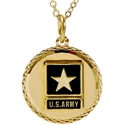 Son Sales Army Classic Pendant 22K Gold Plated Diamond Cut Edging with 18 Inch 22K Gold Plated Chain