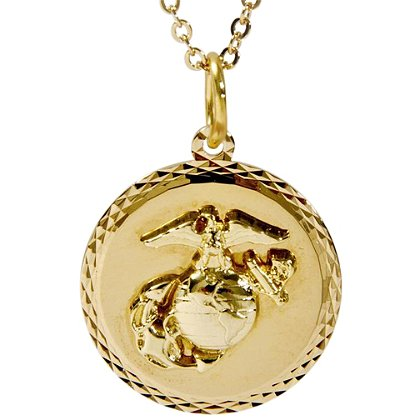 Son Sales Marine Corps Classic Pendant 22K Gold Plated Diamond Cut Edging with 18 Inch 22K Gold Plated Chain