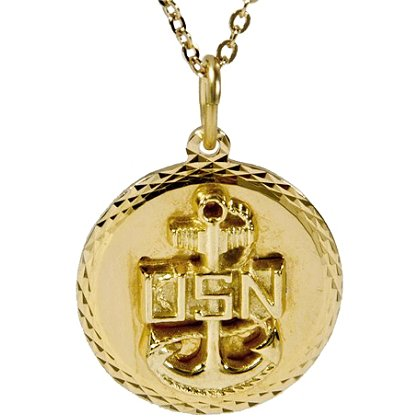 Son Sales Navy Classic Pendant 22K Gold Plated Diamond Cut Edging with 18 Inch 22K Gold Plated Chain