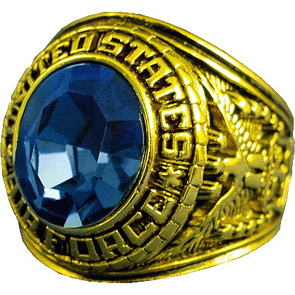 Son Sales Air Force Ring, 18K Gold Electroplate with Sapphire Austrian Crystal Stone, Style # 20