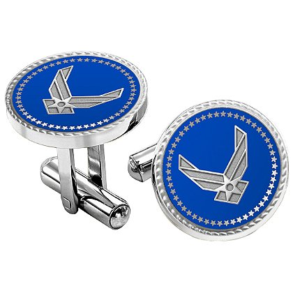 Air Force Cuff Links w/ Applied Emblem Bullet Style Straight Action