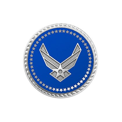 Air Force Lapel Pin w/ Applied Emblem & Deluxe Flat Back Clutch