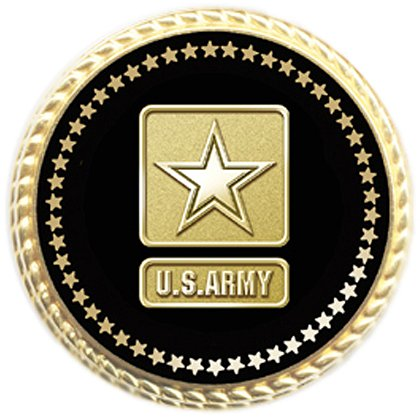 Gold Plated Army Lapel Pin w/ Applied Emblem & Flat Back Clutch