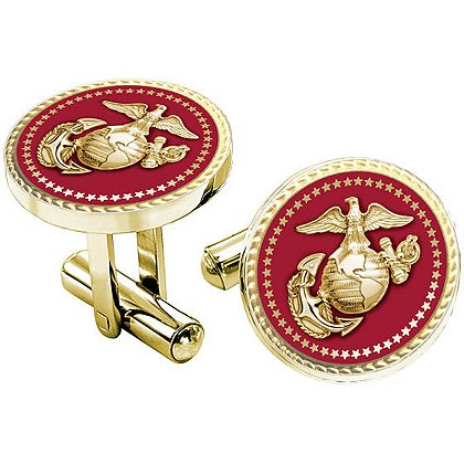 Son Sales Presidential Series Marine Corps Cuff Links, 18K Gold Plate with Applied Emblem, Bullet Style Straight Action