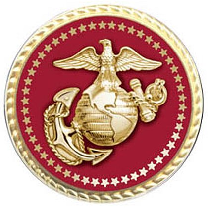 Marine Corps Gold Lapel Pin w/ Applied Emblem & Flat Back Clutch