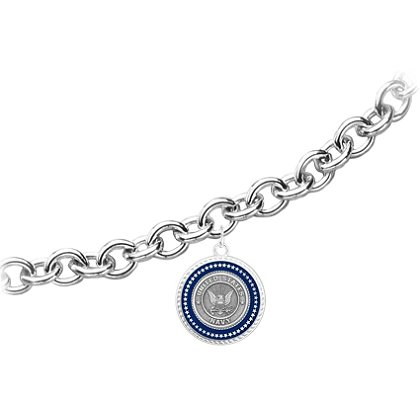 Silver Navy Bracelet w/ Applied Emblem & Lobster Claw Clasp