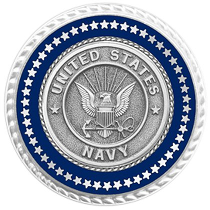 Son Sales Presidential Series Navy Lapel Pin, Silver Tone with Applied Emblem, Deluxe Flat Back Clutch