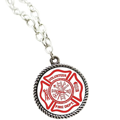 Sublimated Volunteer Fire Department Pendant and 18