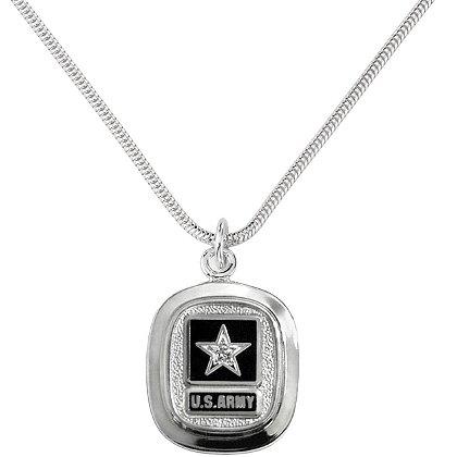 Army Silver Pendant w/ Diamonds & Service Branch Insignia