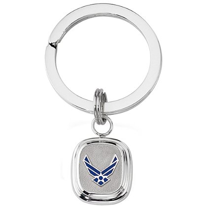 Son Sales Air Force Classic Key Ring High Tension Sterling Silver Split Key Ring with Polymer Service Branch Insignia