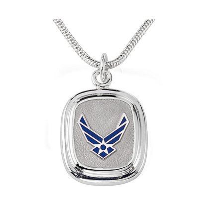 Son Sales Air Force Classic Pendant, Sterling Silver, Polymer Branch Insignia, 18